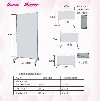 ダンス用ミラー(縦型)DM-2(アルミミラー),家庭用,スタジオ,教室,バレエ用品