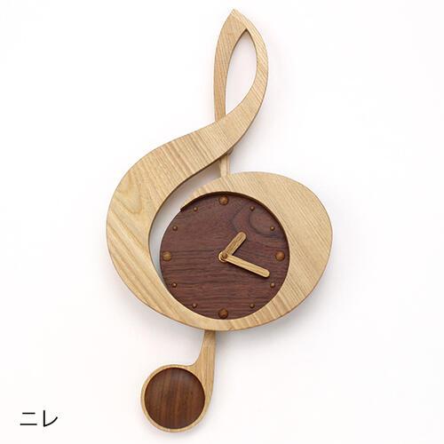 木製振子時計ト音記号 にれ,ピアノ発表会プレゼント