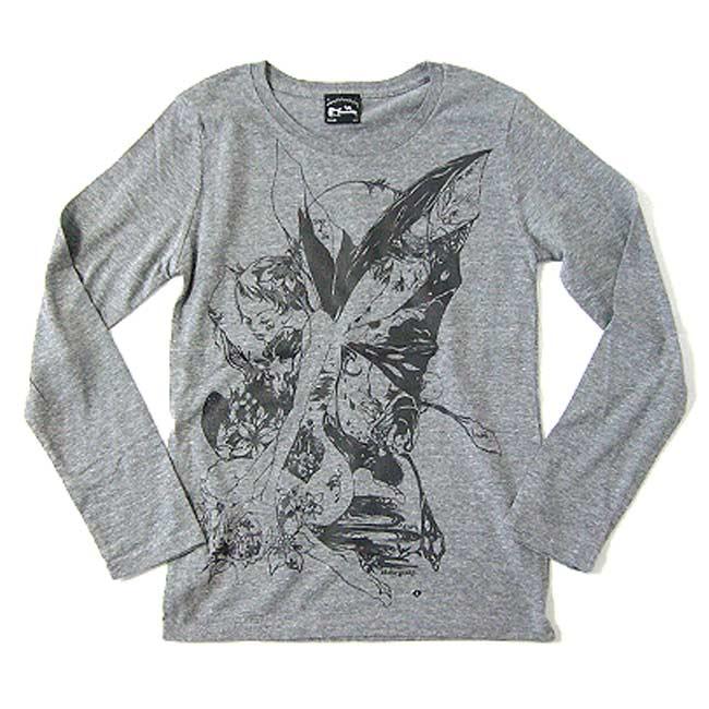 018d878d Butterfly girl neo vintage long sleeve T bg004vlt-A0 - Butterfly graphic T  shirt art collaboration design original Ron T long sleeve cut & ...