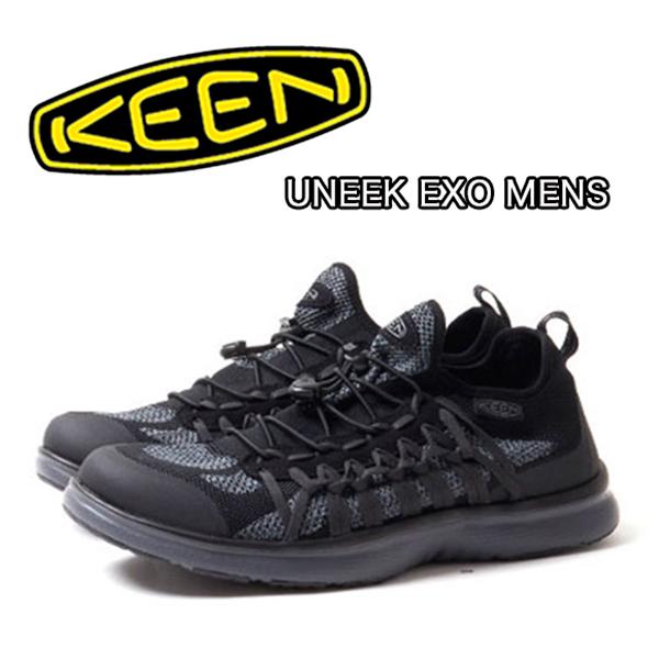 【送料無料】KEEN キーン UNEEK EXO MENS ユニーク エクソ メンズBLACK/STEEL GREY アウトドアシューズ サンダル CAMP FES