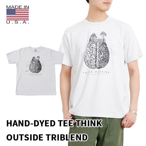 インパクトあるグラフィックに込められた THINK OUTSIDE THE MOUNTAIN 40%OFFの激安セール ザ 信用 マウンテン HAND-DYED TEE TRIBLEND ハンドダイ ティー シンク トリブレンドプリント おしゃれT T アメリカ製 かっこいいT メンズ レディース 半袖 キャンプ T-SH アウトサイド フェス Tシャツ