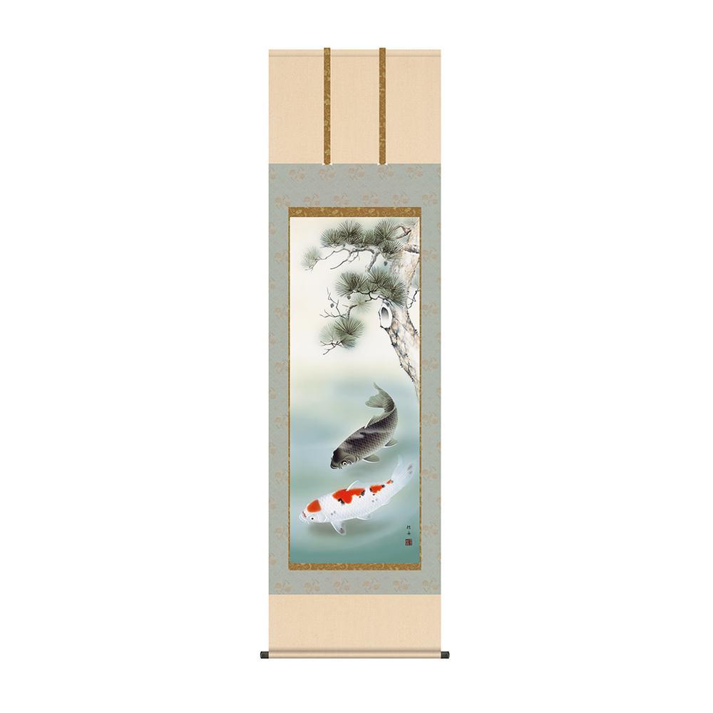 掛軸 唐沢碧山「跳鯉」 KZ2F4-048 54.5×190cm メーカ直送品  代引き不可/同梱不可
