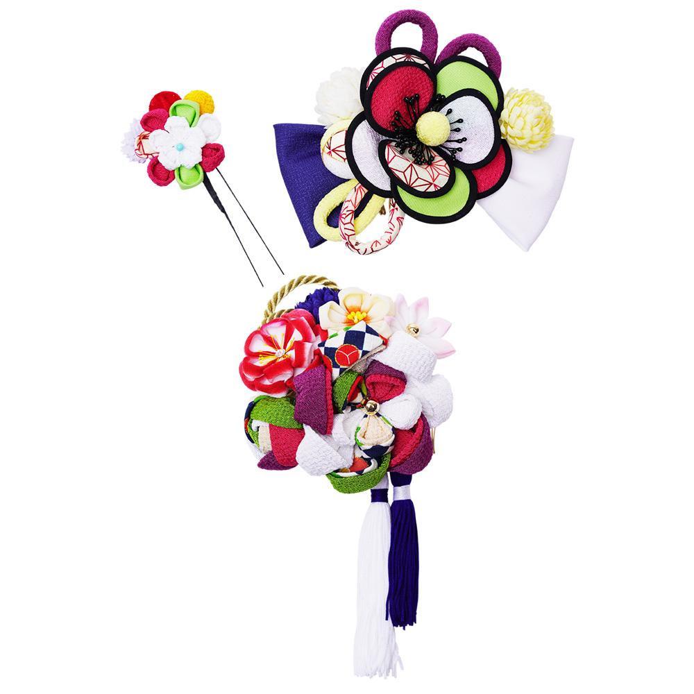 レトロポップな和風髪飾りセット (コーム2点・Uピン) 224-031 シロ メーカ直送品  代引き不可/同梱不可