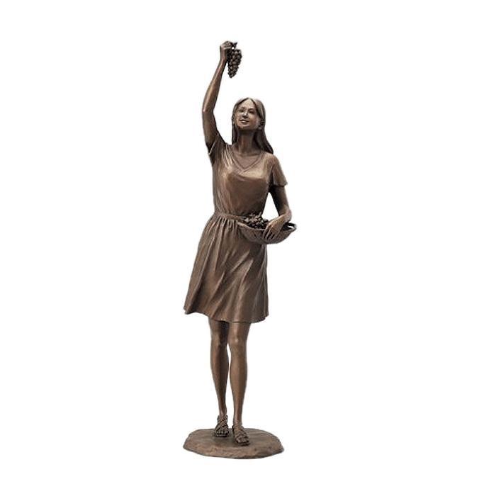 高岡銅器 銅製置物 洋風 仙里篤成作 ぶどうを摘む少女 17-03 メーカ直送品  代引き不可/同梱不可