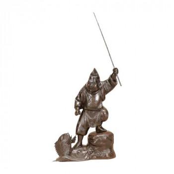 高岡銅器 銅製置物 越山栄山作 銀製入 恵比寿 12号 39-02 メーカ直送品  代引き不可/同梱不可
