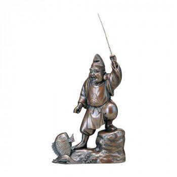 高岡銅器 銅製置物 越山栄山作 上味色 恵比寿 12号 39-06 メーカ直送品  代引き不可/同梱不可