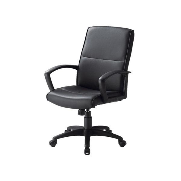 オフィスチェア ウレタンレザー張り ブラック FTX-3L 代引き不可/同梱不可
