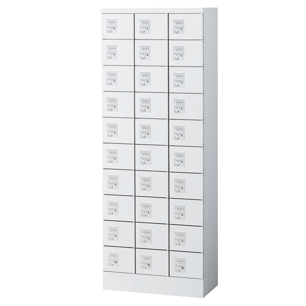 SEIKO FAMILY(生興) 小物入れロッカー 3列10段30人用・ダイヤル錠タイプ KLKW-30-DWH 代引き不可/同梱不可