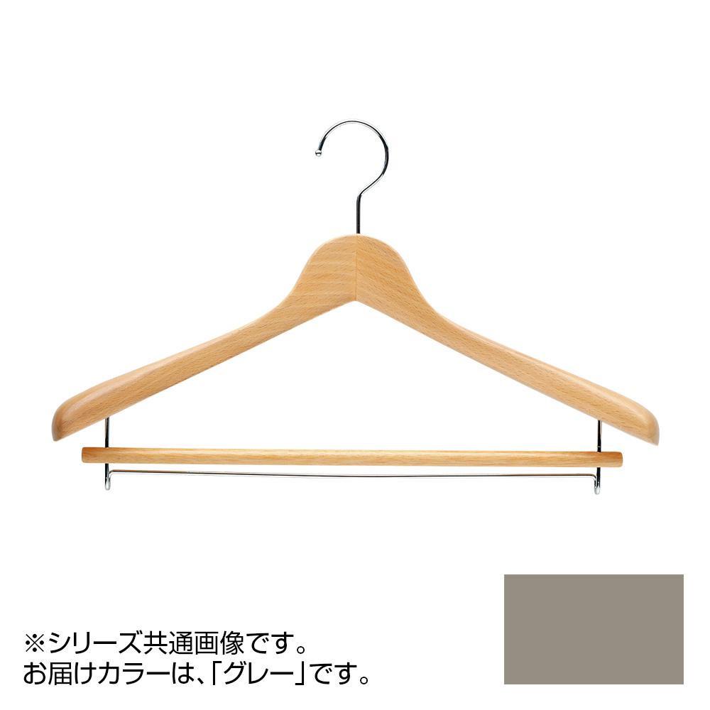 日本製 木製ハンガーメンズ用 T-5281 グレー 5本セット バー付 肩幅42cm×肩厚5.5cm メーカ直送品  代引き不可/同梱不可