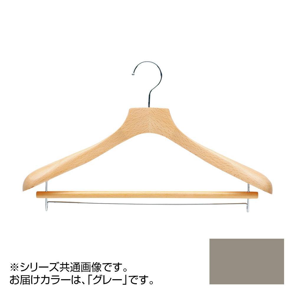 日本製 木製ハンガーメンズ用 T-5011 グレー 5本セット バー付 肩幅42cm×肩厚4.8cm メーカ直送品  代引き不可/同梱不可