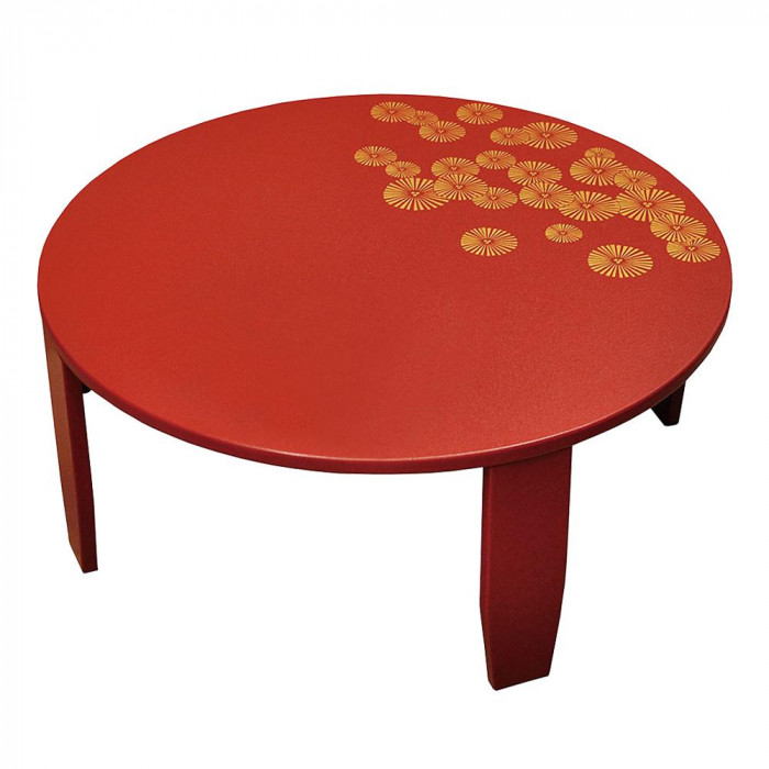ヤマコー IniShie カフェテーブル 赤 松柄 79267 メーカ直送品  代引き不可/同梱不可