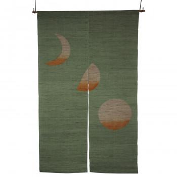 麻のれん 月の満ち欠け(手描き・厚手) NO-11 グリーン 約巾88×丈150cm メーカ直送品  代引き不可/同梱不可