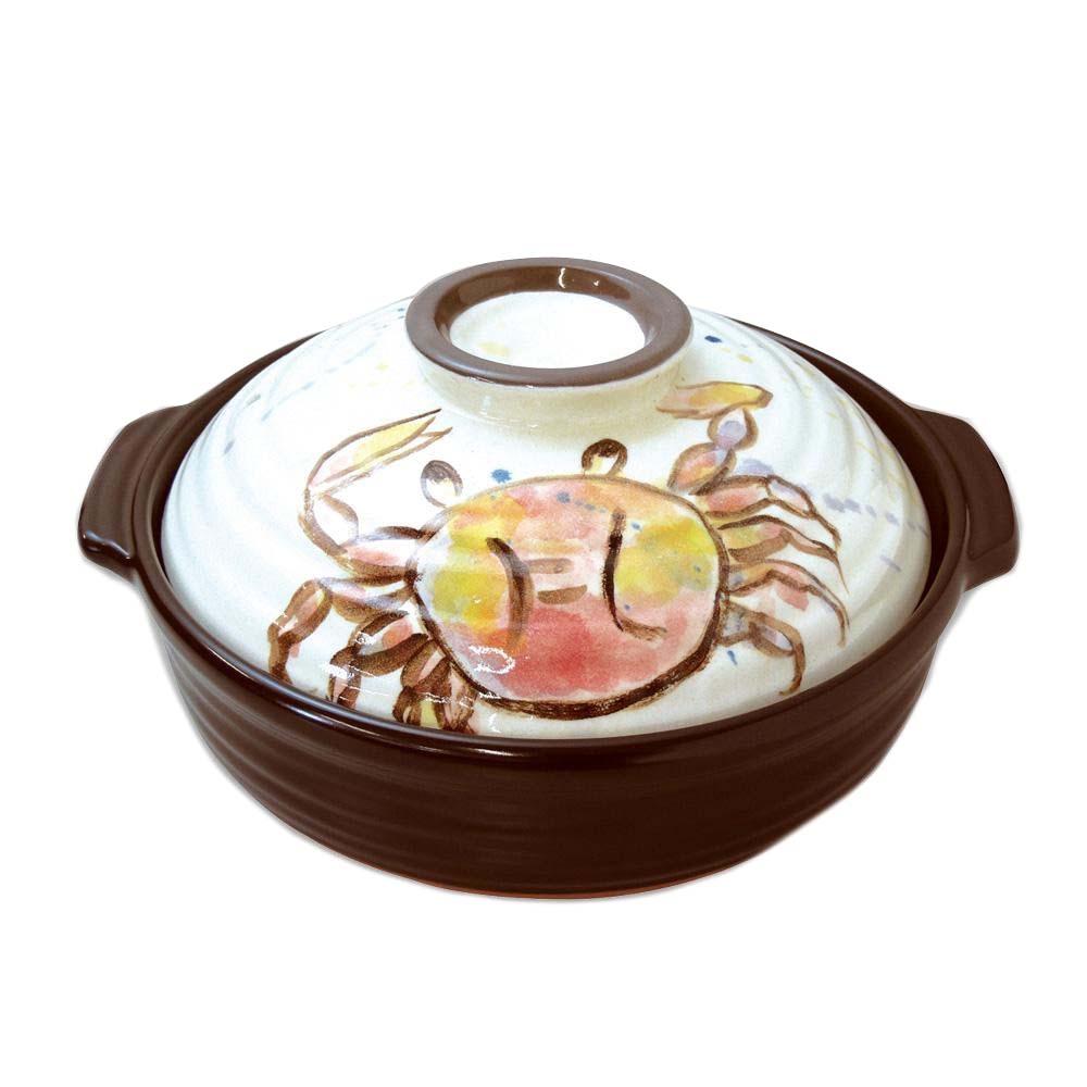 日本製 セラミック加工IH土鍋(IH・直火両用) お魚 カニ 8号 3742-1854 代引き不可/同梱不可