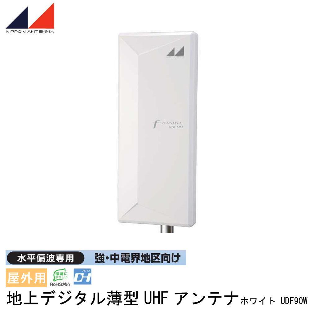 日本アンテナ 屋外用 地上デジタル薄型UHFアンテナ 水平偏波専用 強・中電界地区向け ホワイト UDF90W 代引き不可/同梱不可