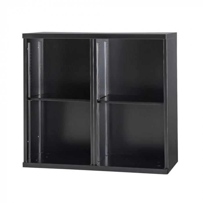 豊國工業 コンビネーション収納庫オープン2列 棚板2枚付 ブラック NHS-K21-B サテンブラック メーカ直送品  代引き不可/同梱不可