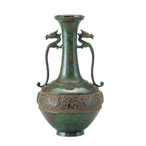 高岡銅器 銅製花瓶 竜耳瑞鳥 101-01 メーカ直送品  代引き不可/同梱不可
