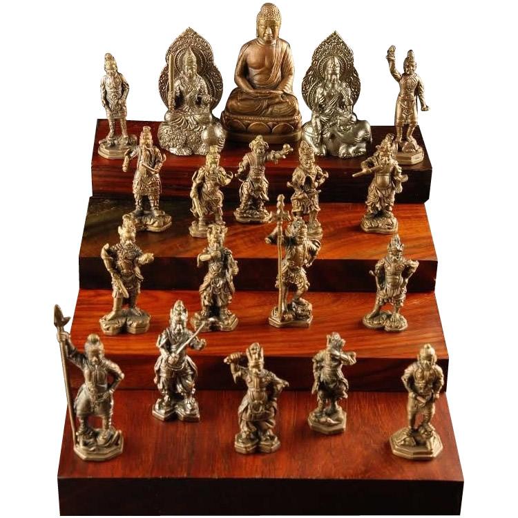極小仏像 釈迦三尊十六善神(木台無し) 61393 代引き不可/同梱不可