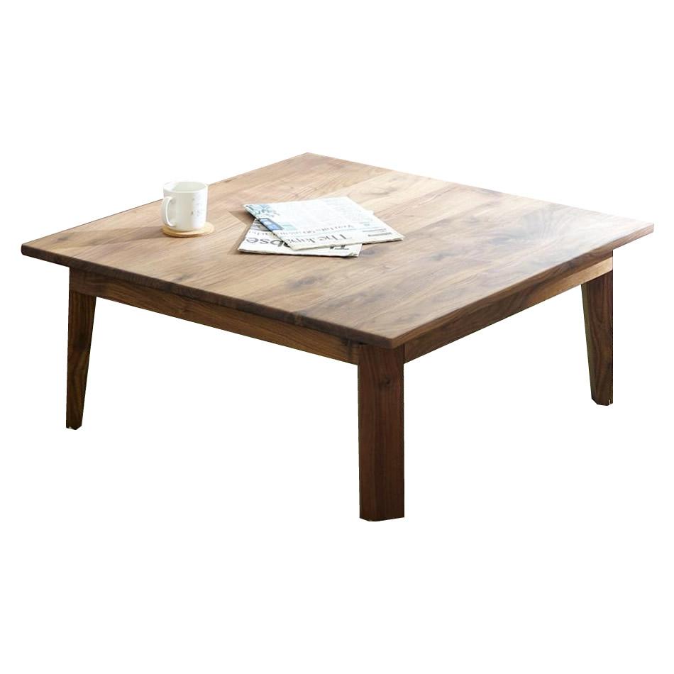 凛 折れ脚センターテーブル 90cm 角 ウォールナット 代引き不可/同梱不可
