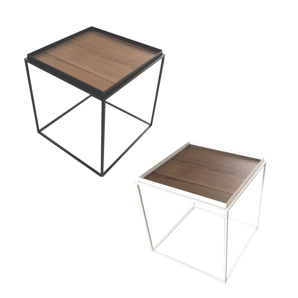 トレイテーブル サイドテーブル 400×400mm ウォールナット突板 代引き不可/同梱不可
