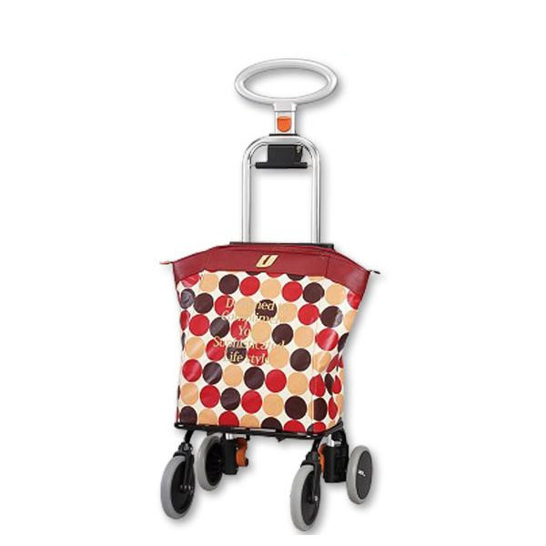 ショッピングカート アップライン UL-0218(水玉・レッド) メーカ直送品  代引き不可/同梱不可
