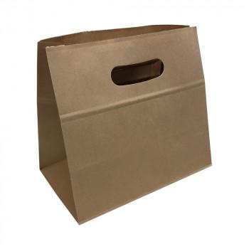 パックタケヤマ 手提袋 エコイーグリップLL-S 茶無地 230×135×210 XZT52028 メーカ直送品  代引き不可/同梱不可