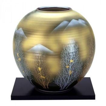 九谷焼 9号花瓶 金箔木立連山 N176-06 メーカ直送品  代引き不可/同梱不可