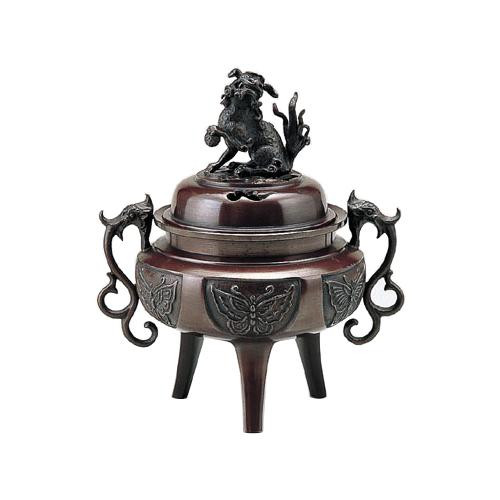 高岡銅器 香炉 大和型獅子蓋 大 徳色 131-03 メーカ直送品  代引き不可/同梱不可