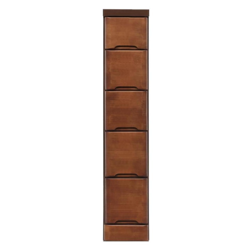 クライン サイズが豊富なすきま収納チェスト ブラウン色 5段 幅20cm 代引き不可/同梱不可