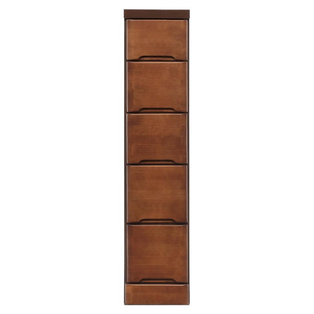クライン サイズが豊富なすきま収納チェスト ブラウン色 5段 幅22.5cm 代引き不可/同梱不可