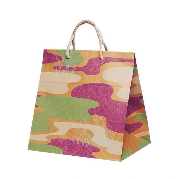T-ワイド 自動紐手提袋 紙袋 PP紐タイプ 300×210×310mm 200枚 利休 1753 メーカ直送品  代引き不可/同梱不可