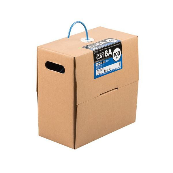 サンワサプライ カテゴリ6A LANケーブルのみ (ブルー・100m) KB-T6A-CB100BL メーカ直送品  代引き不可/同梱不可