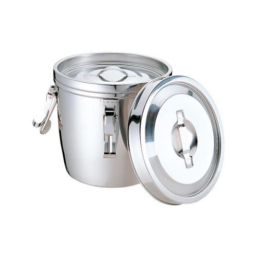 18-8二重保温食缶(中蓋式) 両手クリップ付 6L 012316-001 メーカ直送品  代引き不可/同梱不可