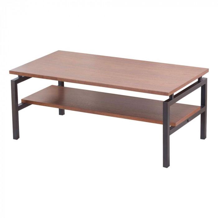 棚付きリビングテーブル HAK-10 ダークブラウン メーカ直送品  代引き不可/同梱不可
