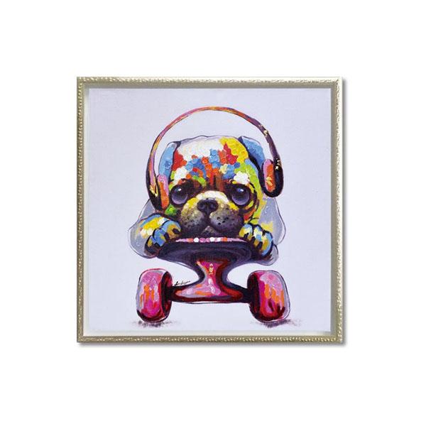 ユーパワー OIL PAINT ART オイル ペイント アート 「スケボー ドッグ」 Mサイズ OP-18001 代引き不可/同梱不可