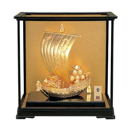 高岡銅器 和風置物 宝船ゴールド ガラスケース付 156-02 メーカ直送品  代引き不可/同梱不可
