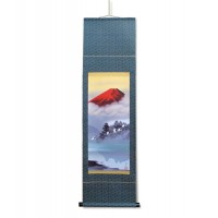 鈴村秀山 掛軸(尺幅) 「赤富士飛翔」 112879 代引き不可/同梱不可
