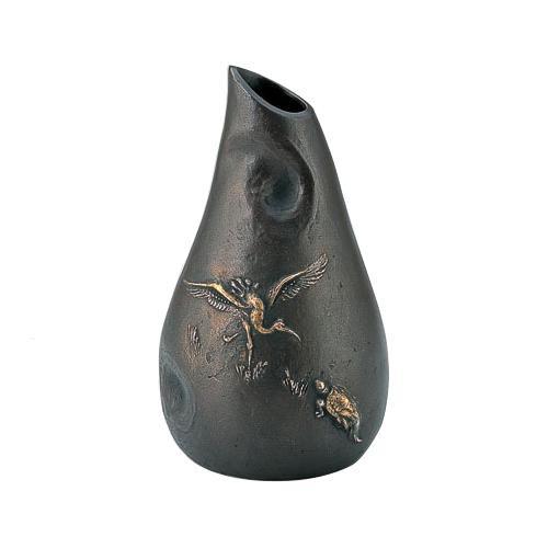 高岡銅器 銅製花瓶 大森孝志作 花器 鶴亀 99-04 メーカ直送品  代引き不可/同梱不可