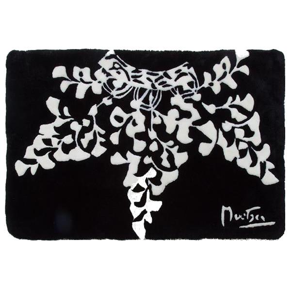 アール・ヌーヴォー ミュシャデザイン ムートンショーンラムスキンアクセントラグ 「カフェ」 100×150cm NOUV6515BK 代引き不可/同梱不可