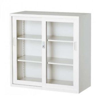 オフィス向け 一般書庫・ホワイト 3×3型引違書庫 3号ガラス戸 COM-303G-W メーカ直送品  代引き不可/同梱不可