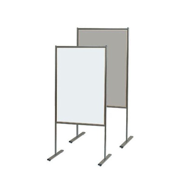 馬印 スチール製案内板 スチールホワイトボード/掲示板(700ライトグレー) アジャスター付 W628×D450×H1350 YVK600 代引き不可/同梱不可