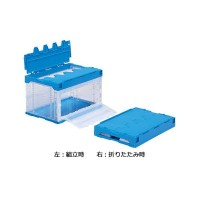 三甲 代引き不可/同梱不可 透明/ブルー サンコー 556280 50B(長側扉あり) サンクレットオリコンラック(扉付オリコン)