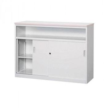 オフィス・店舗向け システムカウンター 中棚付ハイカウンター 鍵付 天板W1200×D450mm メーカ直送品  代引き不可/同梱不可