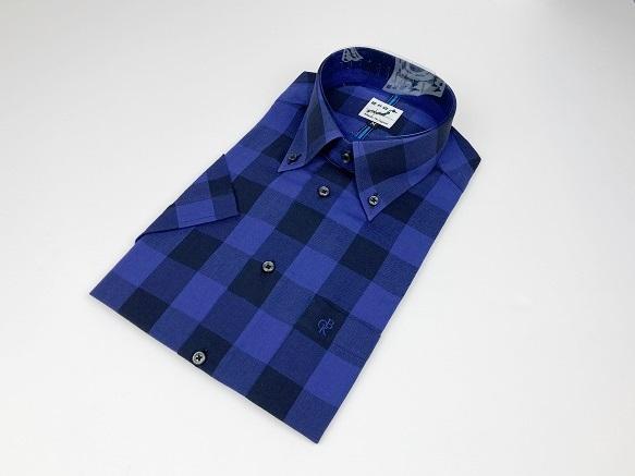 送料無料 播州織 半袖 メンズシャツ ランキングTOP10 SHIRT-18-4 パープル×ブラック ブロックチェック 限定 素材 ビジネス 先染 祝日 服 ファッション メンズ ブランド カジュアル 男性