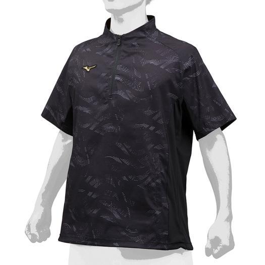(K)限定 ミズノ (12JE9J7209) ミズノプロ ハーフZIPトレーニングジャケット 半袖 ブラック