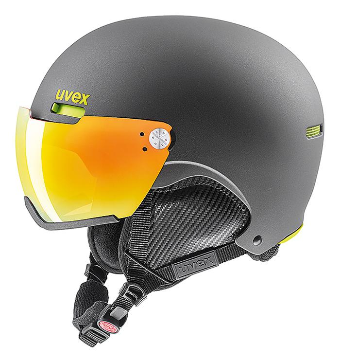 セール 18-19 ウベックス (5662135605) バイザー付スキーヘルメット UVEX HLMT500 VISOR 55~59cm ガン/ライムマット (K)