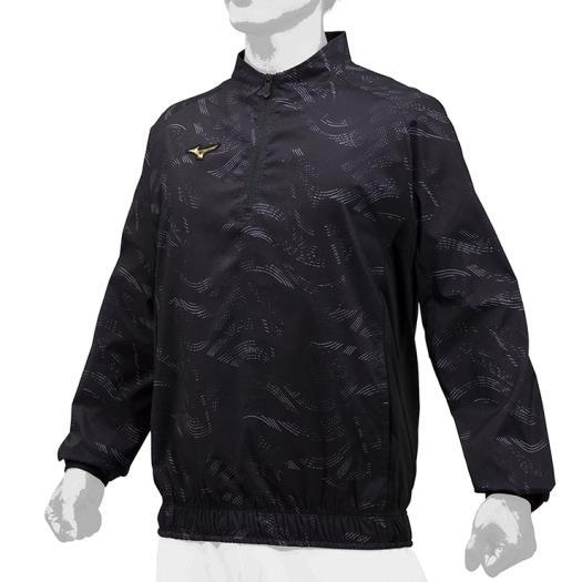 限定 ミズノ (12JE9J7109) ミズノプロ ハーフZIPトレーニングジャケット 長袖 ブラック (K)