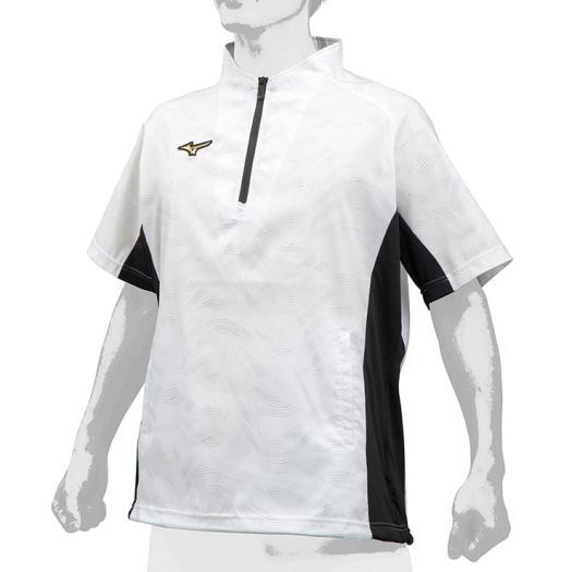 (K)限定 ミズノ (12JE9J7201) ミズノプロ ハーフZIPトレーニングジャケット 半袖 ホワイト