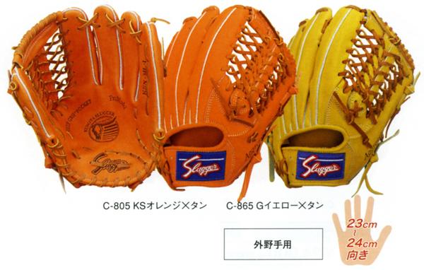 【型付け無料】 久保田スラッガー 野球 軟式 グローブ(グラブ) KSN-ML-I 外野手用 【黄】【橙】 【KSNML1】【返品・交換不可】