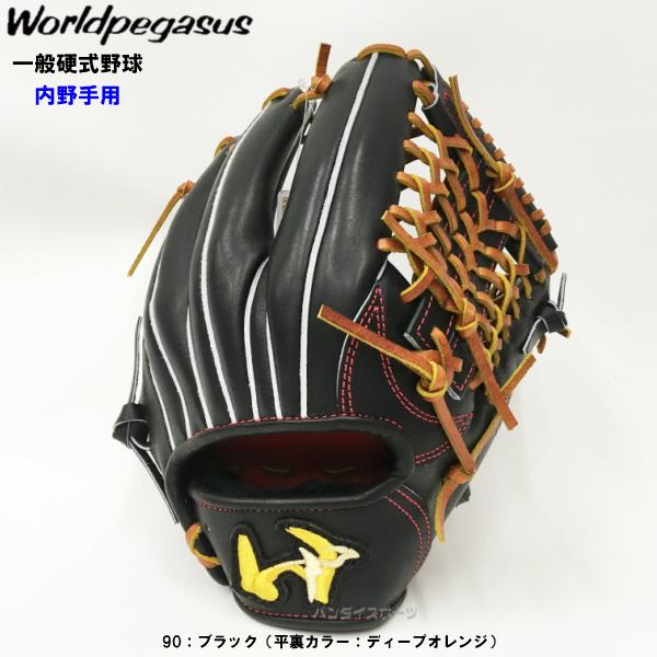 【型付け無料】 人気 ワールドペガサス 野球 硬式 グローブ グランドペガサス 内野手用 ブラック 【黒】 WGKGP86-90