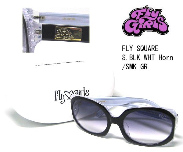 FLY GR S.BLK フライガールズ SQUARE FLY Horn SMK GIRLS サングラス WHT スモークグラデーション【3980円以上購入で送料無料】